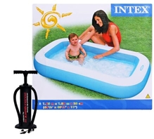Intex - Rectangular Baby Pool with Intex High Output Manual Hand Pump (Pack of 2)