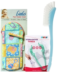 Combo pack of Feeder Cover,Bottle Brush & Sterilization Tongs (Pack of 3)