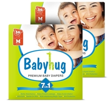 Baby Hug - 7 in 1 Premium Baby Diapers Medium, 6 -11 Kg, 36 Pieces (Combo Pack of 2)