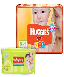 Huggies - Dry Diapers S (Upto 7 Kg), 30 Pieces with Baby Hug - Premium Baby Wipes 80 Pieces combo (Set of 2)