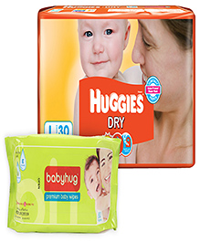 Huggies - Dry L (8 - 14 Kg) 30 Pieces with Babyhug Premium Baby Wipes - 80 Pieces (Set of 2)