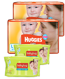 2 Huggies - Dry L (8 - 14 Kg) 30 Pieces with 2 Babyhug - Premium Baby Wipes 40 Pieces combo (Set of 4)