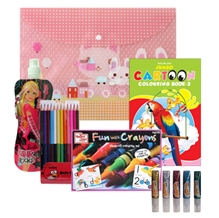United Toys Coloring Crayons with Collapsible Bottle,Twin Color Pencils,GLitter,Coloring Book & Multiutility Bag