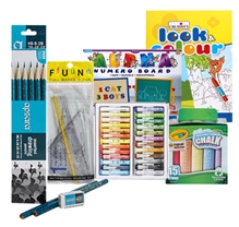 Alpha Numero Board with Chalk,Oil Pastels,Mathematical Drawing Set,Drawing Pencils & Coloring Book