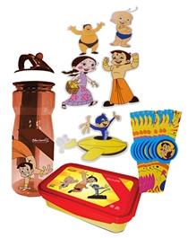 Chhota Bheem Cool Kids Combo( Water Bottle,Lunch Box,Cutouts & Wrist Band)