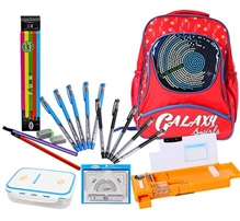 School Bag with Lunch Box,Pencil Box,Pen Set,Pencil Set & Mathematical Set