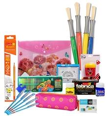 Coloring cum School Kit Combo(Oil Pastels,Pencil,Eraser,Sharpener,Folder File,Mathematical Set,Pen,Brush,Brush Case)