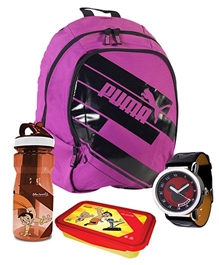 Puma Backpack with Wrist Watch,Lunch Box & Water Bottle