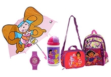 Dora School Bag with Wrist Watch,Umbrella,Lunch Box & Water Bottle