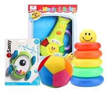 Pop N Push Car & Musical Toy with Littles Baby Ball and Junior Ring