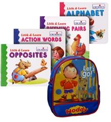 Noddy School Bag with Creatives Look & Learn Book Combo