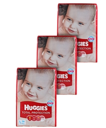 Huggies Total Protection,L (8 - 14 Kg), 36 Pieces (Combo Pack of 3)
