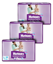 Huggies - Wonder Pants, L ( 9 - 14 Kg), 38 Pieces (Combo Pack of 3)