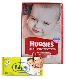 Huggies Total Protection,Size L(8-14 Kg)36 pieces with Babyhug Premium Wipes(Set of 2)