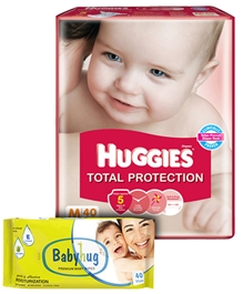 Huggies Total Protection M (5 - 11 Kg), 40 Pieces with Babyhug Premium Wipes (Set of 2)