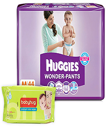 Huggies - Wonder Pants,M, (7 -12 Kg), 44 Pieces with Babyhug Premium Wipes(Set of 2)