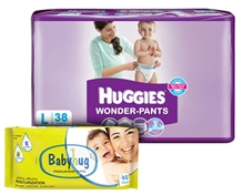 Huggies - Wonder Pants,L ( 9 - 14 Kg), 38 Pieces with Babyhug Premium Wipes(Set of 2)