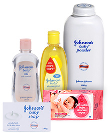Johnson & Johnson Combo(Baby Soap, Baby Powder, Baby Oil, Baby Shampoo & Baby Wipes)
