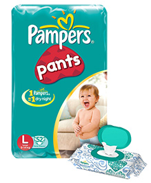 Pampers Diaper Pants - L 52 pieces with Pampers Wipes 72 Pieces Combo Pack of 2