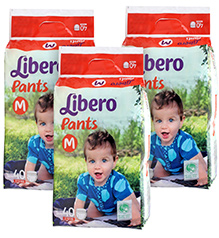 Libero Pant Style Diapers Medium - 40 Pieces Pack of 3
