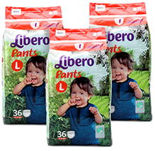 Libero Pant Style Baby Diaper Large - 36 Pieces Pack of 3