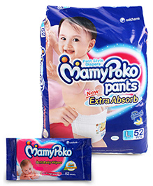 Mamy Poko Pants Pant Style Diapers Large - 52 Pieces with Mamy Poko Soft Baby Wipes 52 pieces ( Combo Pack of 2 )