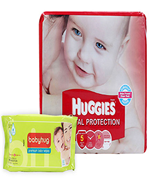 Huggies Total Protection Diapers Large - 17 Pieces  with Babyhug Premium Baby Wipes - 80 Pieces - Pack of 2