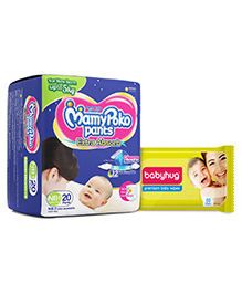Mamy Poko Pant Style Diaper Extra Small - 20 Pieces with Babyhug Premium Baby Wipes - 80 Pieces - Pack of 2
