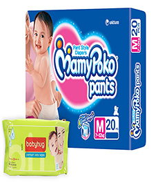 Mamy Poko Pants Pant Style Diapers Medium - 20 Pieces with Babyhug Premium Baby Wipes - 80 Pieces - Pack of 2