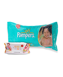 Pampers Magic Gel Diapers XL - 5 Pieces with Mee Mee Baby Wet Wipes 80 Pieces - Pack of 2