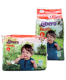 Libero Pant Style Baby Diaper Large - 36 Pieces and Libero Pant Style Diaper Large - 18 Pieces - Pack of 2