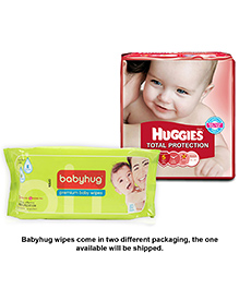 Huggies Total Protection Diapers Extra Large - 15 Pieces With Babyhug Premium Baby Wipes - 80 Pieces - Pack Of 2