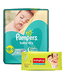 Pampers Baby Dry Diaper Newborn To Small - 22 Pieces With Babyhug Premium Baby Wipes - 80 Pieces - Pack Of 2