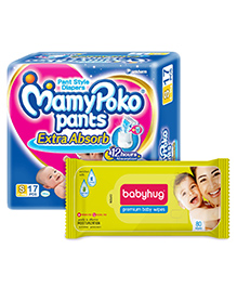 Mamy Poko Pants Pant Style Diapers Small - 18 Pieces with Babyhug Premium Baby Wipes - 80 Pieces - Pack of 2