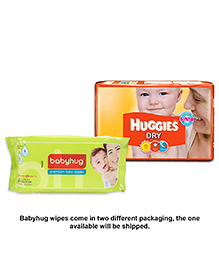 Huggies Dry Diapers Small - 30 Pieces With Babyhug Premium Baby Wipes - 80 Pieces - Pack Of 2