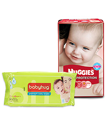 Huggies Total Protection Diapers Small - 26 Pieces With Babyhug Premium Baby Wipes - 80 Pieces - Pack Of 2