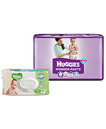 Huggies Wonder Pants Large - 38 Pieces With Huggies Thick Baby Wipes Imported - 80 Pieces - Pack Of 2