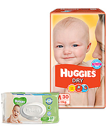Huggies Dry Diapers Medium - 30 Pieces With Huggies Thick Baby Wipes Imported - 80 Pieces - Pack Of 2