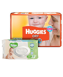 Huggies Dry Diapers Small - 30 Pieces with Huggies Thick Baby Wipes Imported - 80 Pieces	- Pack of 2