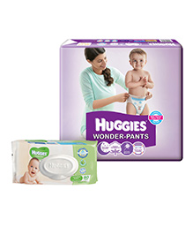 Buy Huggies Wonder Pants Medium - 60 Pieces  and Get Huggies Thick Baby Wipes Imported - 80 Pieces FREE