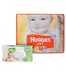 Buy Huggies Dry Diapers Medium - 62 Pieces and Get  Huggies Thick Baby Wipes Imported - 80 Pieces FREE