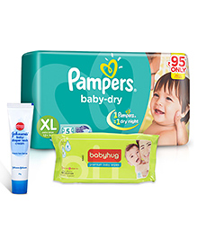 Pampers Baby Dry Diaper Extra Large - 5 Pieces + Johnson's Baby Diaper Rash Cream - 20 Grams + Babyhug Premium Baby Wipes - 80 Pieces - Pack Of 3