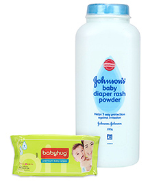 Johnson's baby Diaper Rash Powder 200 grams AND Babyhug Premium Baby Wipes 80 Pieces ,Pack of 2