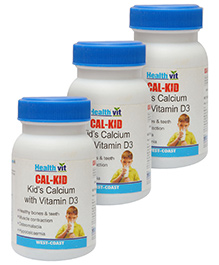 Healthvit CAL-KID Kids Calcium With Vitamin D3 - 60 Tablets pack of 3