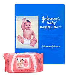 Johnsons baby Nappy Pads - 20 Pads and Johnson's baby Skincare Wipes - 80 Pieces
