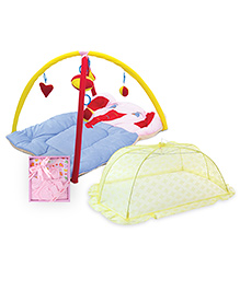 Babyhug Twist N Fold Move N Play Activity Gym Elephant - Multicolor- 1 Qty And Babyhug Clothing Gift Set Animal Print Pack Of 4 - Pink- 1 Qty And Babyhug Mosquito Net Floral Design Yellow - Large- 1 Q