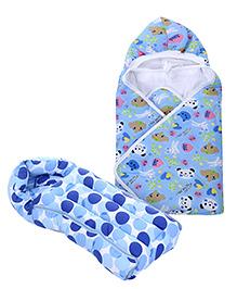 Babyhug Sleeping Bag Polka Dots - Blue- 1 Qty Babyhug Hooded Baby Wrapper Animal Print - Sky Blue- 1 Qty