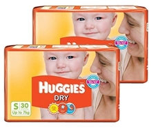 Huggies - Dry Diapers S (Upto 7 Kg), 30 Pieces (Combo Pack of 2)