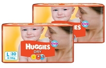 Huggies - Dry L (8 - 14 Kg) 30 Pieces (Combo Pack of 2)