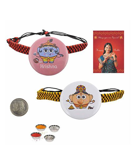 Little India Lord Ganesha And Krishna Badge Rakhi Pair - White And Peach